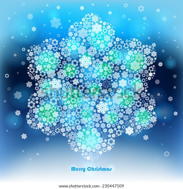 Vector Illustration of a winter background made of snowflakes. Christmas and New Year greeting card.