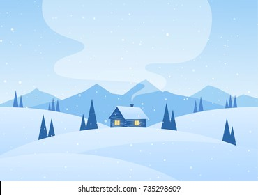 Vector illustration: Winter cartoon mountains landscape with house and smoke from chimney.