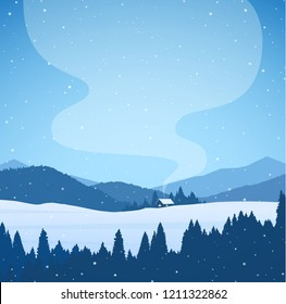 Vector illustration: Winter cartoon snowy mountains landscape with forest, house and smoke from chimney.