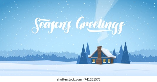 Vector illustration: Winter christmas landscape with cartoon house and handwritten lettering of Season's Greetings.