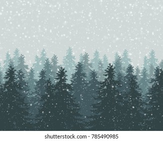 Vector illustration of winter forest with falling snowflakes and gray sky