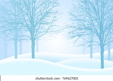 Vector illustration of winter forest with snow and mist, suitable as Christmas greeting card