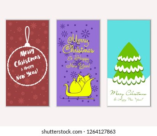 Vector illustration of winter holidays greeting cards
