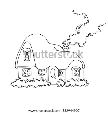 Vector Illustration Winter Home Snow Coloring Stock Vector (Royalty ...