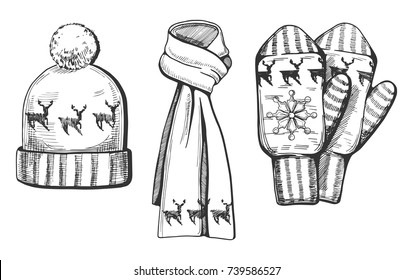Vector illustration of a winter knitted items set: hat, scarf and mittens with deer print/ornament. Hand drawn engraving style.
