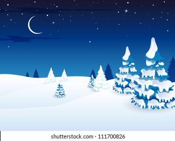 Vector Illustration of a Winter Landscape