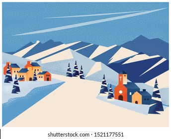 Vector illustration of winter landscape Banner of little village in the mountain or peak. snow fir over the mountain.Concept of winter holiday.Image with noise and grain. Blue and orange color tone.