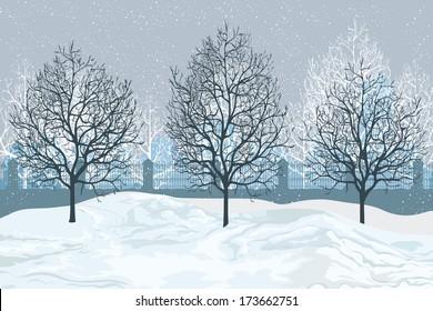 Vector illustration, winter landscape, card concept.