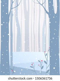 Vector illustration. Winter landscape. Winter forest.