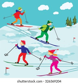 Vector illustration. Winter landscape with funny skiers.It can also be used as a set of vector objects for design.
