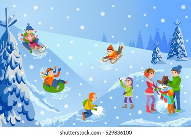 Vector illustration of winter landscape happy children playing with snowman walking outdoor.