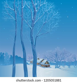 Vector illustration. Winter landscape. Moonlit night in a snowy village, on the edge of the forest.