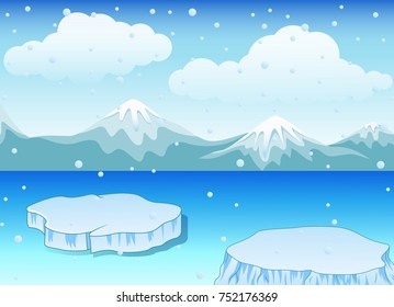Vector illustration of Winter landscape with snow mountains and ice floe