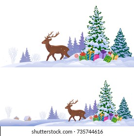 Vector illustration of winter landscapes with a reindeer and a Christmas tree, isolated on a white background