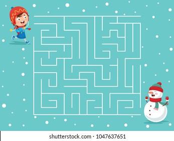 Vector Illustration Of Winter Maze