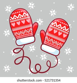 Vector illustration winter mittens in children's style. Lace gloves on a gray background. Winter holidays.