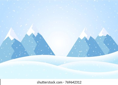 Vector illustration of winter mountain landscape with snow and blue sky, suitable as Christmas greeting card