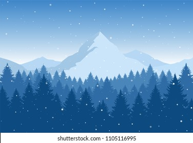 Vector illustration: Winter Mountains landscape with pine forest on foreground. Christmas background