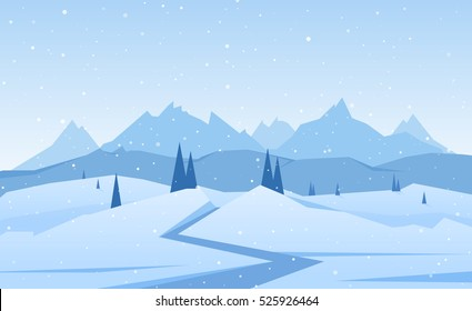 Vector illustration: Winter Mountains landscape with road, pines and hills.