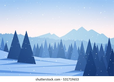 Vector illustration: Winter Mountains landscape with pine forest. Christmas background