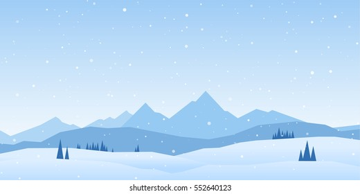 Vector illustration: Winter Mountains landscape with pines and hills.
