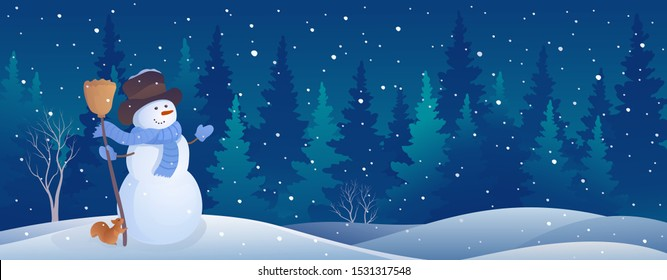 Vector illustration of a winter night forest with a greeting snowman and a cute squirrel, Christmas snow background