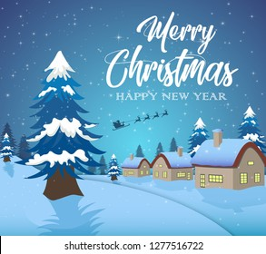Vector illustration of Winter night landscape with  blue background and house