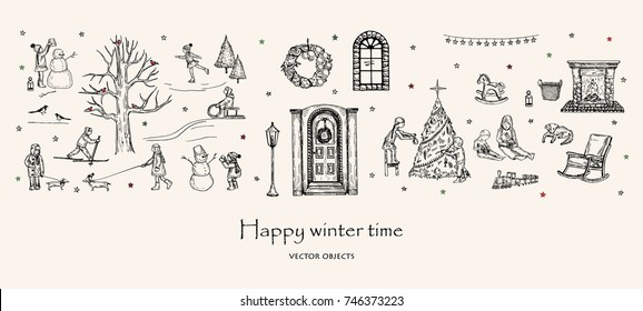 Vector illustration. Winter pen style set. Children outdoors and at home. Decor elements. Winter tree with bullfinches. Snowman. Skates, sled, ski. Vacation time. Vector sketch.
