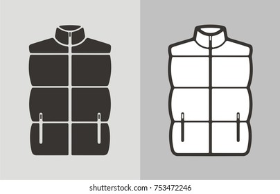 Vector illustration of winter quilted waistcoat, clothes icon