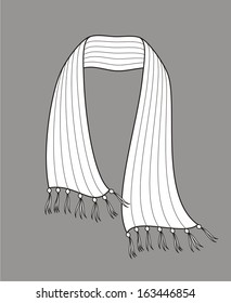 Vector illustration of a winter scarf. Knitwear
