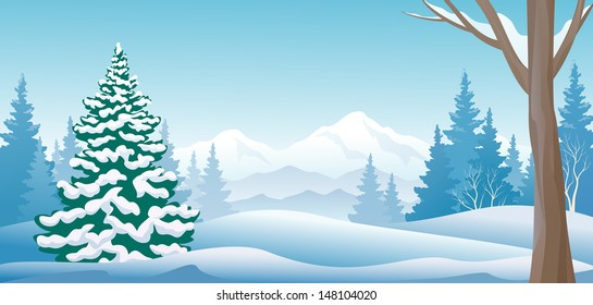 Vector illustration of a winter scene