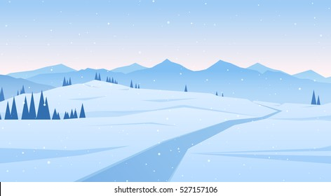 Vector illustration: Winter scene with mountains landscape. Christmas background.