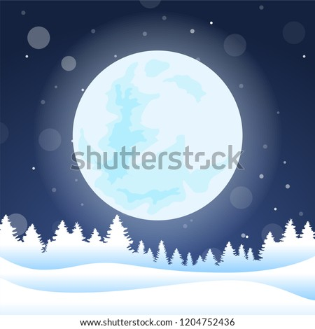 Vector illustration: Winter scene with snowy landscape. background. EPS 10