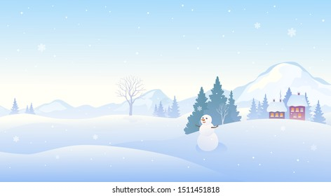 Vector illustration of a winter snow covered landscape with a cute snowman, panoramic mountain background