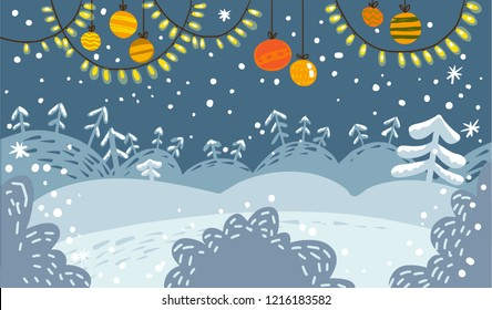 Vector illustration. Winter snowy landscape with trees, snowflakes and lights on garland. Cute hand drawn cartoon and doodle style. Holidays decorations for banner, poster, invitation, card, broshure