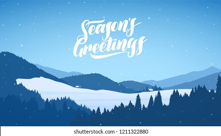 Vector illustration: Winter snowy mountains christmas landscape with cartoon houses and handwritten lettering of Season's Greetings.