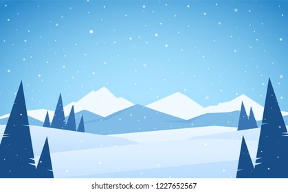 Vector illustration: Winter snowy Mountains landscape with pines, hills and peaks.