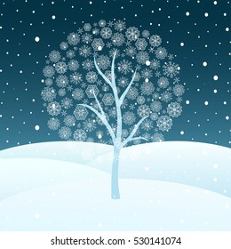 Vector illustration of winter snowy night landscape with blue tree silhouette with snowflakes