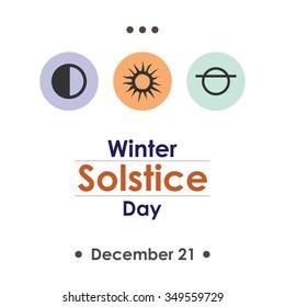 Vector illustration for winter solstice day in december poster design on white background