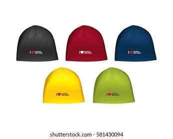Vector illustration of winter sport hat for men. Realistic illustration sport cap for winter sports