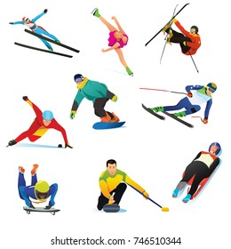 A vector illustration of Winter Sports Cliparts Icons