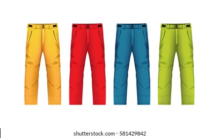 Vector illustration of winter trousers. Realistic illustration of winter sports clothes.