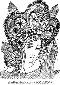 Vector illustration winter woman in zentangle and ethnic style. Black and white lines.