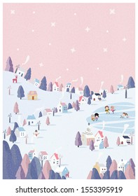 vector illustration of winter wonderland in pink pastel background.The cute small village in Christmas day with snow.Kids playing iced skating with snowman and snowball.Minimal winter landscape.