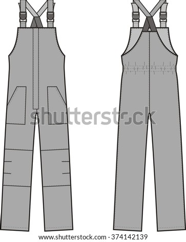 da5c511d1028 Vector illustration of winter work overalls with braces. Front and back  views