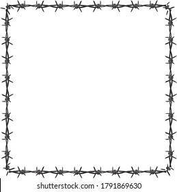 Vector illustration wire barb fence background isolated on white. The rectangular arrangement of barbed wire conveys dictatorship, being controlled by unjust powers.