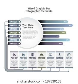 Vector illustration of wired graphic bar infographic elements.