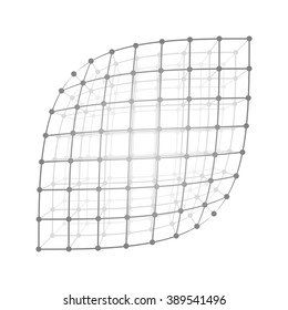 Vector illustration wireframe 3D mesh polygonal vector sheet. Network line, design sheet, dot and structure.