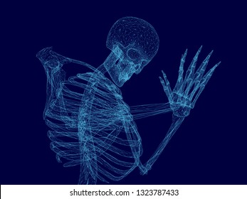 Vector illustration of wireframe human skeleton that prays. Blue polygonal human skeleton. 3D. Vector illustration.