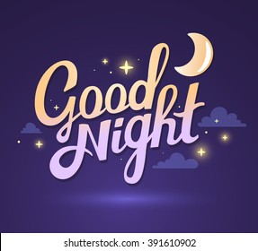 Vector illustration of wish good night on dark purple sky background with moon. Art design for web, site, advertising, banner, poster, flyer, brochure, board, card, paper print.